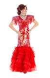 Portrait Drag Queen in Red Dress Performing Stock Photos
