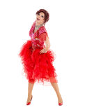 Portrait Drag Queen in Red Dress Performing Stock Photography