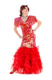 Portrait Drag Queen in Red Dress Performing Stock Photo