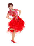 Portrait Drag Queen in Red Dress Performing Royalty Free Stock Photo