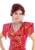 Portrait Drag Queen in Red Dress Shows Grimaces Stock Images