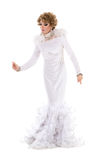Portrait Drag Queen in White Dress Performing Stock Photos