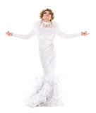 Portrait Drag Queen in White Dress Performing Stock Image
