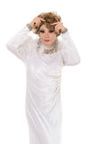 Portrait Drag Queen in White Dress Performing Royalty Free Stock Photo