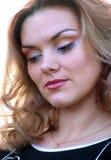Portrait of a dreamy blonde closeup. Stock Image