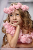 Portrait of dreamy girl with pink flowers Royalty Free Stock Images