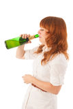Portrait drinking sad woman Royalty Free Stock Images