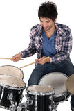 Portrait of a drummer. Practicing stock image