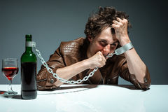 Portrait of a drunk and depressed man Stock Image