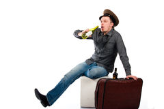 Portrait of a drunk man with a bottle Royalty Free Stock Photos