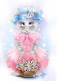 Portrait du chat de vintage avec le panier illustration stock
