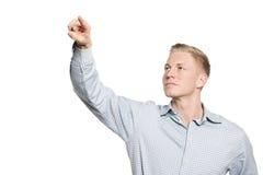 Jeune dessin d'homme d'affaires avec le doigt dans le ciel. Photos stock