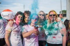 Portrait du groupe de personnes d'amis chez Colore Mulhouse 2017 Image stock
