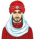 Portrait du jeune homme arabe attirant dans un turban illustration stock