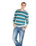 Portrait du jeune homme beau heureux d'isolement sur le backgroun blanc Image libre de droits