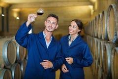 Portrait du jeune homme et de la femme tenant le verre de vin dans l'établissement vinicole Photos stock