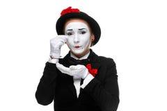 Portrait du pantomime triste et pleurant Images libres de droits