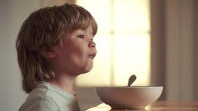 Portrait du petit bébé garçon riant doux avec les cheveux blonds mangeant du plan rapproché de cuillère de participation de plat  banque de vidéos