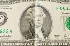 Portrait du Président Thomas Jefferson sur un billet d'un dollar 2 clos photos stock