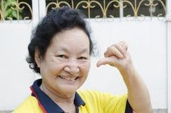 Portrait du sourire supérieur asiatique de femme Photos libres de droits