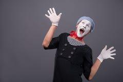 Portrait du visage drôle blanc de pantomime masculin et Image stock