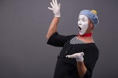 Portrait du visage drôle blanc de pantomime masculin et Photographie stock libre de droits