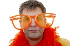 Portrait of Dutch soccer fan Royalty Free Stock Image