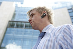 Portrait with Earphone Royalty Free Stock Photo