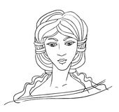 Portrait of an East girl vector. Line drawing portrait of an East girl  vector Stock Photos