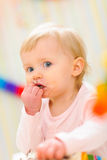 Portrait of eat smeared baby Royalty Free Stock Image