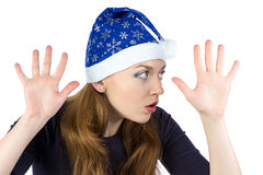 Portrait of eavesdropper young woman Royalty Free Stock Photo