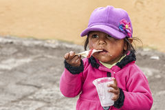 Portrait of Ecuadorian child. Ecuadorian children at Guamote Market Stock Photo