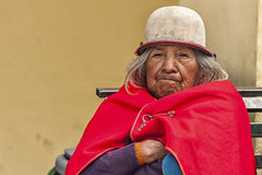 Portrait of Ecuadorian woman. Ecuadorian woman at Guamote Market Royalty Free Stock Photo