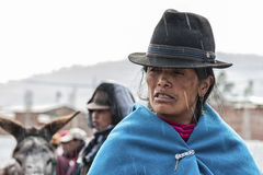 Portrait of Ecuadorian woman. Ecuadorian woman at Guamote Market, Ecuador Stock Photography