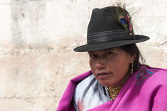 Portrait of Ecuadorian woman. Ecuadorian woman at Guamote Market, Ecuador Royalty Free Stock Photography
