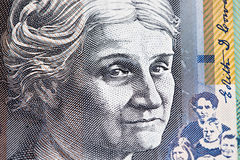 Portrait of Edith Cowan - Australian 50 dollar bill closeup. Portrait of Edith Cowan - Australian 50 dollar bill closeup royalty free stock image