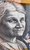 Portrait of Edith Cowan - Australian 50 dollar bill closeup. Portrait of Edith Cowan - Australian 50 dollar bill closeup stock image