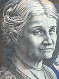 Portrait of Edith Cowan - Australian 50 dollar bill closeup stock image