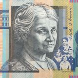 Portrait of Edith Cowan - Australian 50 dollar bill closeup. Background royalty free stock images