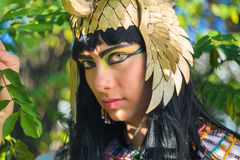 Portrait of an Egyptian girl. Portrait of a beautiful girl in festive costume Nefertiti Stock Photo