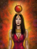 Portrait Egyptian goddess Hathor Stock Images
