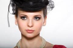 Portrait einer Dame in einem Hut Lizenzfreie Stockfotos