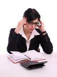 Portrait einer denkenden erfolgreichen Geschäftsfrau Stockbild