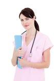 Portrait einer eleganten Krankenschwester, die ein Stethoskop anhält Stockfotografie