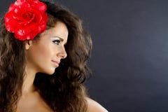 Portrait einer Frau mit Exemplarplatz Stockfotos