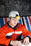 Portrait einer Grubenarbeitskraft Stockbild