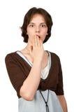 Portrait einer jungen entsetzten Frau Lizenzfreie Stockfotos