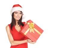 Portrait einer jungen Frau in einem Weihnachtshut Stockfotografie