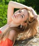 Portrait einer jungen schönen reizend Frau Lizenzfreies Stockbild