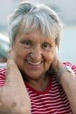 Portrait einer lustigen alten Dame, Frau. stockfoto